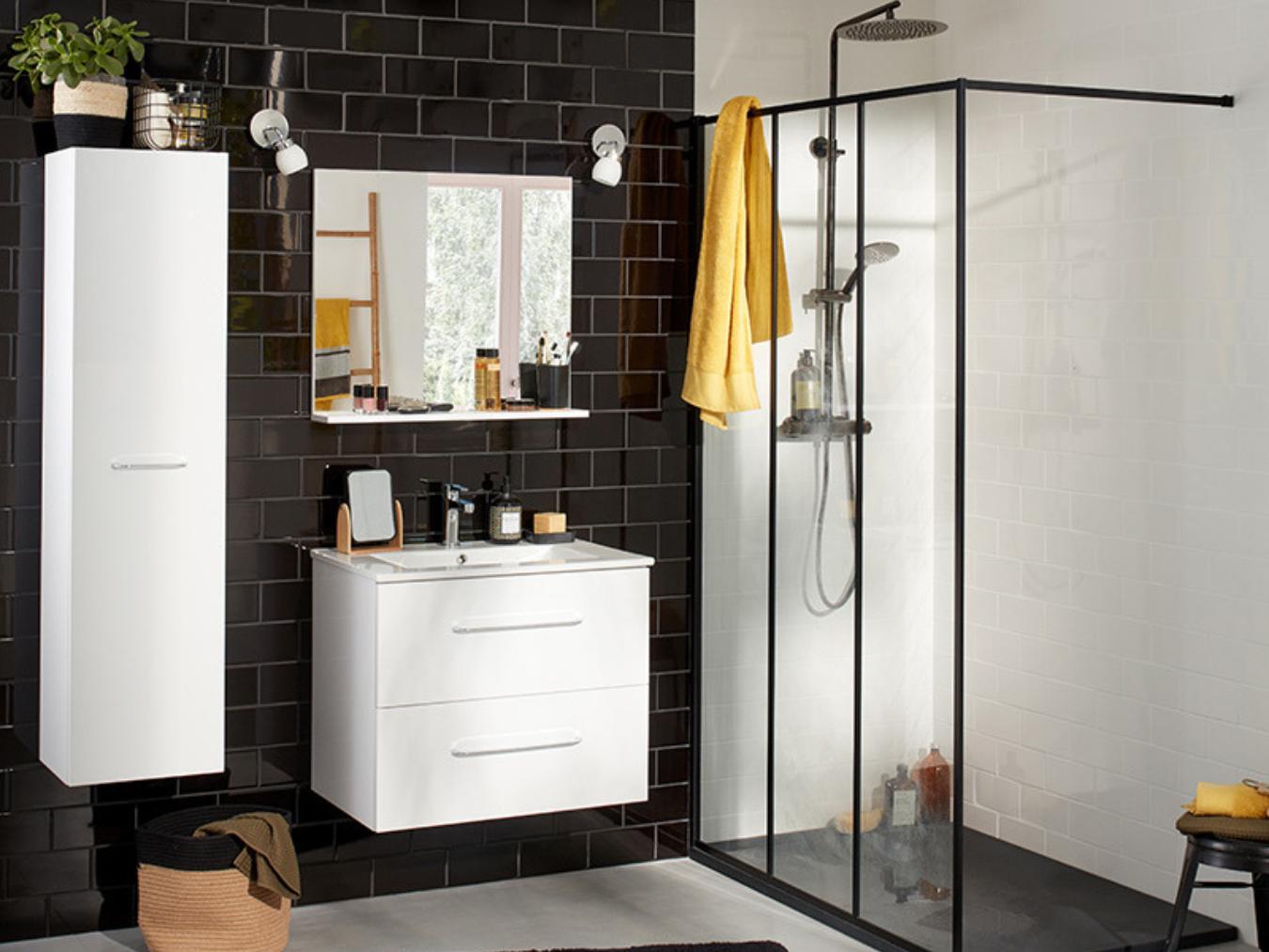 Deco Separation De Piece salle de bain noire et blanche : 15 idées pour vous inspirer