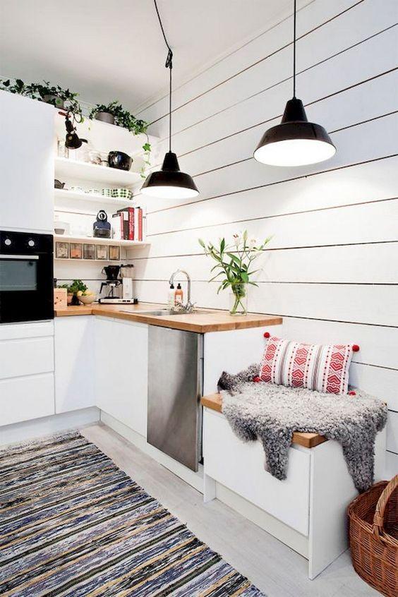 cuisine scandinave cosy blanche et bois