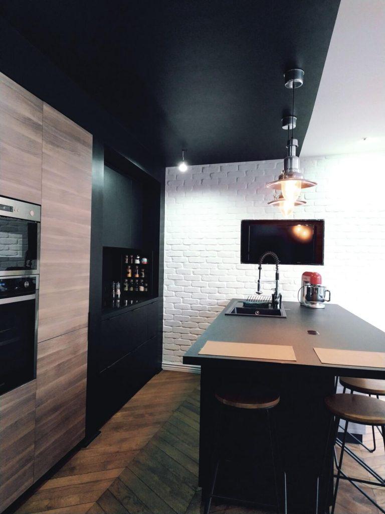 cuisine industrielle noire et bois
