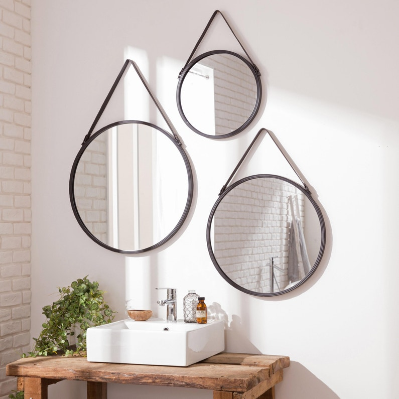miroirs ronds style barbier
