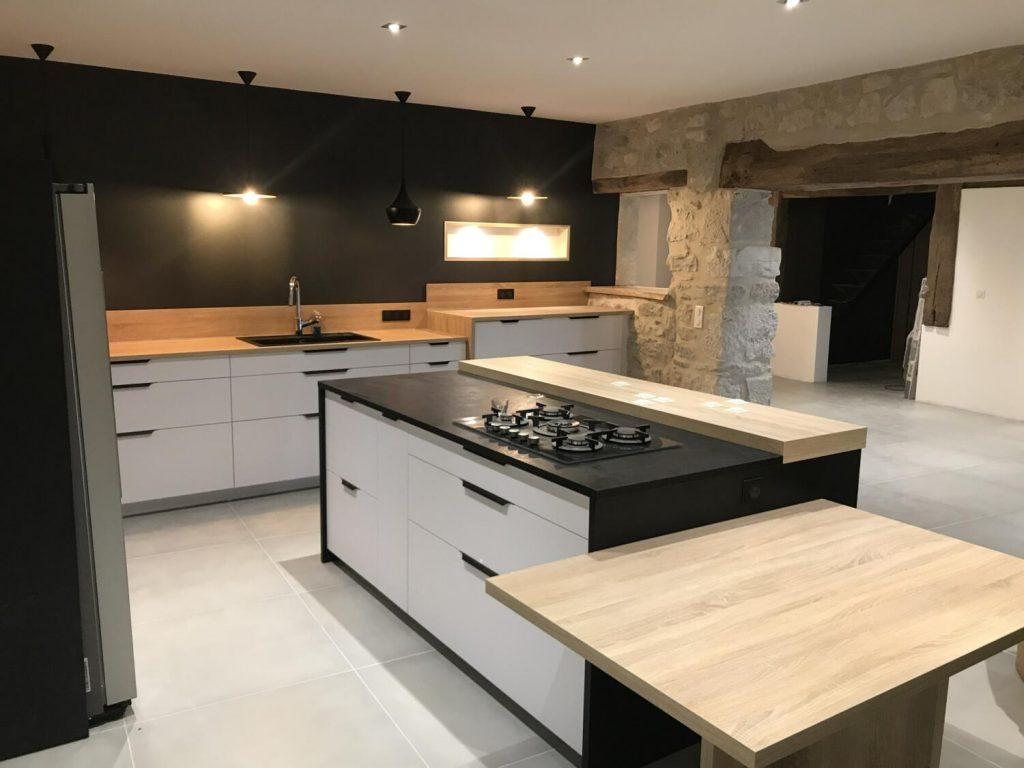 cuisine noire et bois design