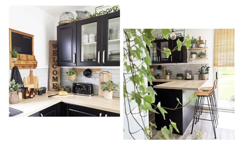 cuisine noire et bois style campagne moderne