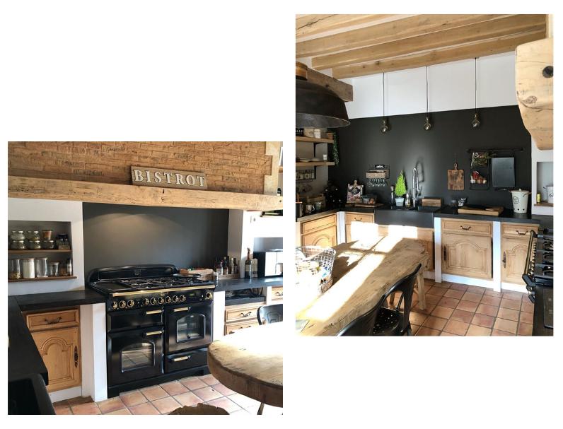 cuisine noire et bois rustique