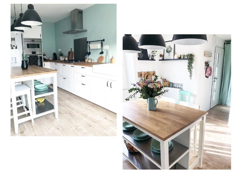 cuisine bleue blanche et bois style scandinave campagne