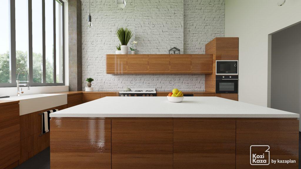 rendu 3D d'une cuisine moderne loft avec large ilot