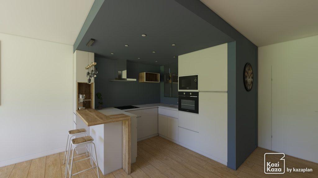 cuisine ouverte moderne avec peinture