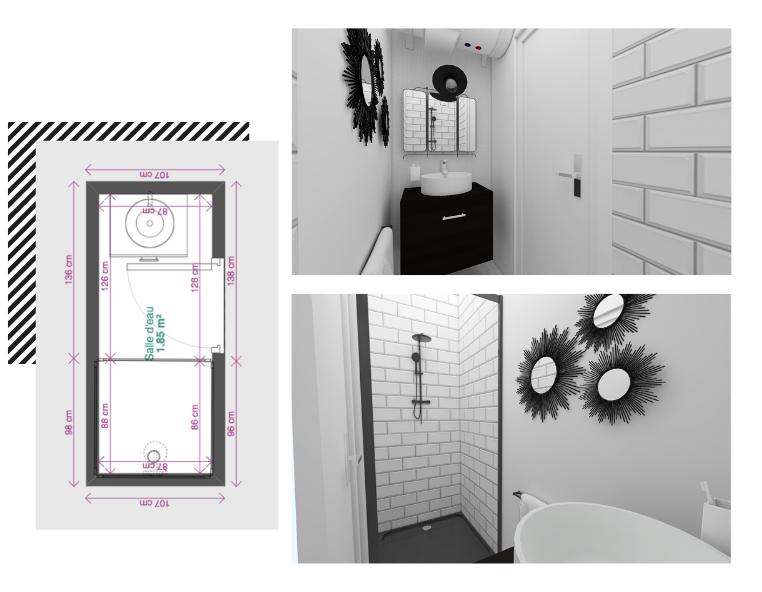 petite salle de bain en longueur 2m2