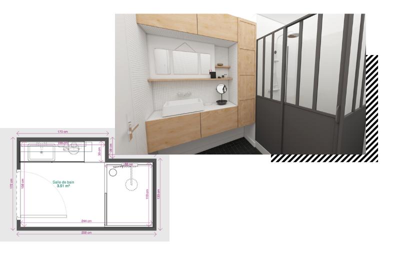 petite salle de bain avec meuble de rangements