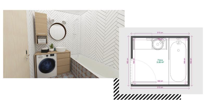 Petite salle de bain 3m2 avec baignoire