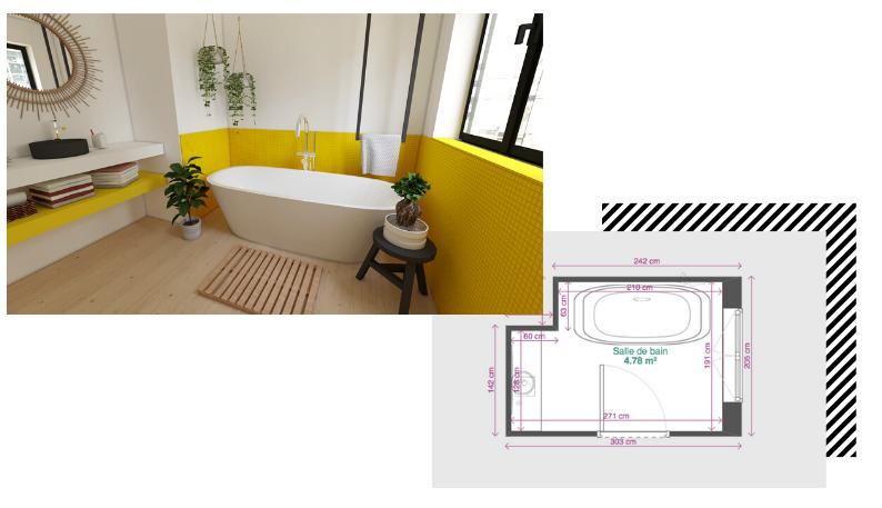 petite salle de bain avec baignoire îlot et vasque suspendue