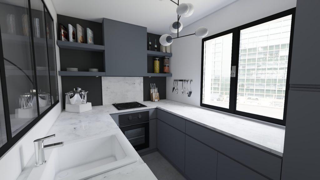 cuisine parallèle noire et marbre