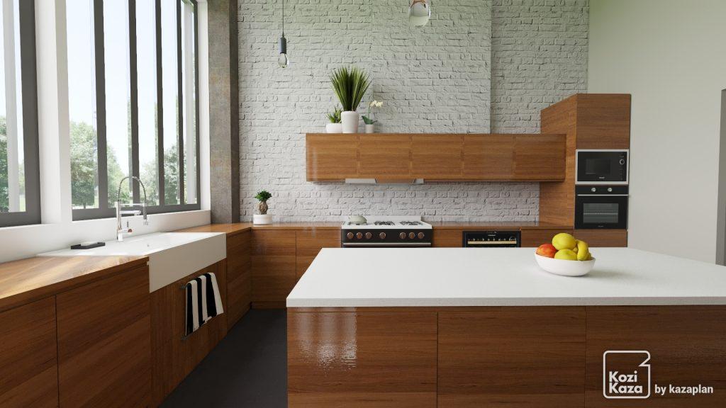 cuisine ouverte blanche et bois style loft