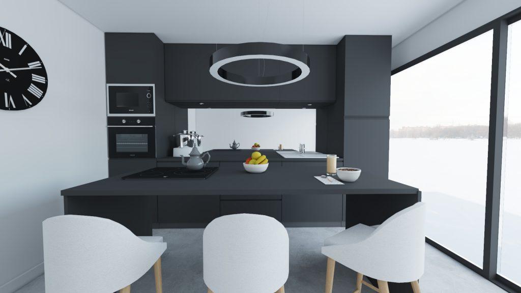 cuisine noire et blanche moderne en 3D