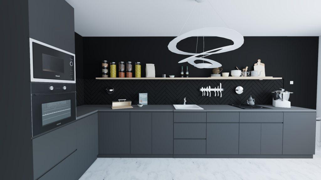 cuisine noire et blanche avec crédence chevron