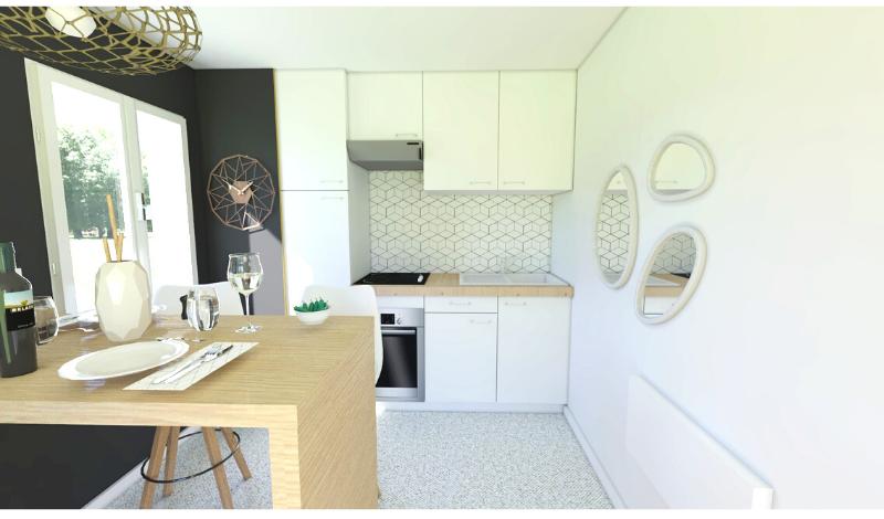 kitchenette avec crédence en papier peint