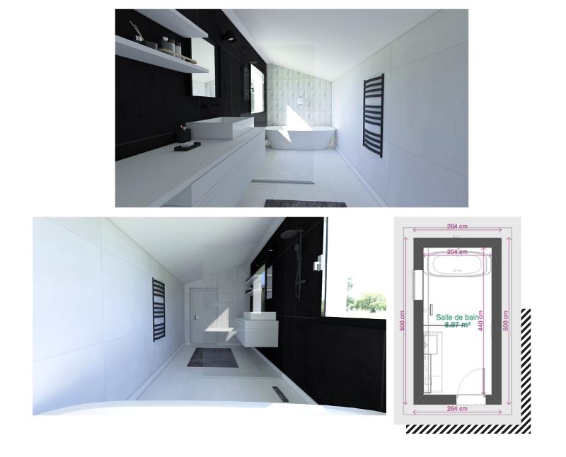 salle de bain en longueur blanche et noire