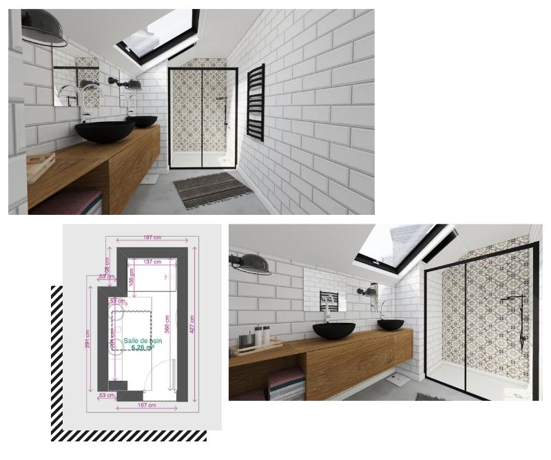 salle de bain mansardée blanche et bois en longueur