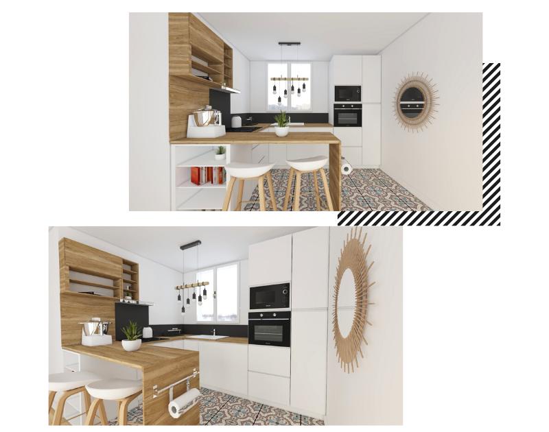 Une petite cuisine aménagée en U lumineuse blanche et bois