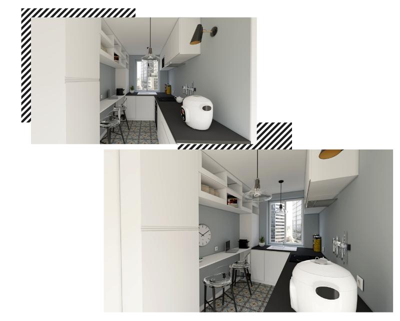 Une petite cuisine fermée en U blanche et noire