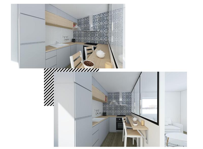 Une mini cuisine en U avec verrière