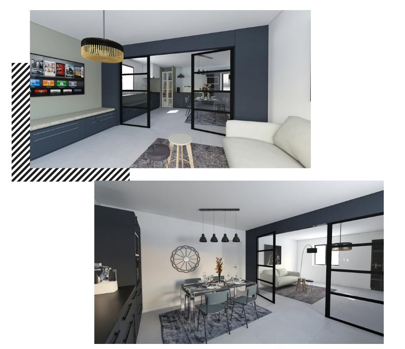 cuisine semi-ouverte moderne avec portes verrières
