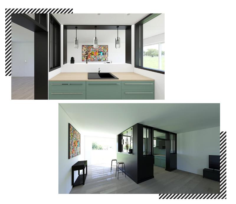cuisine semi-ouverte cube design