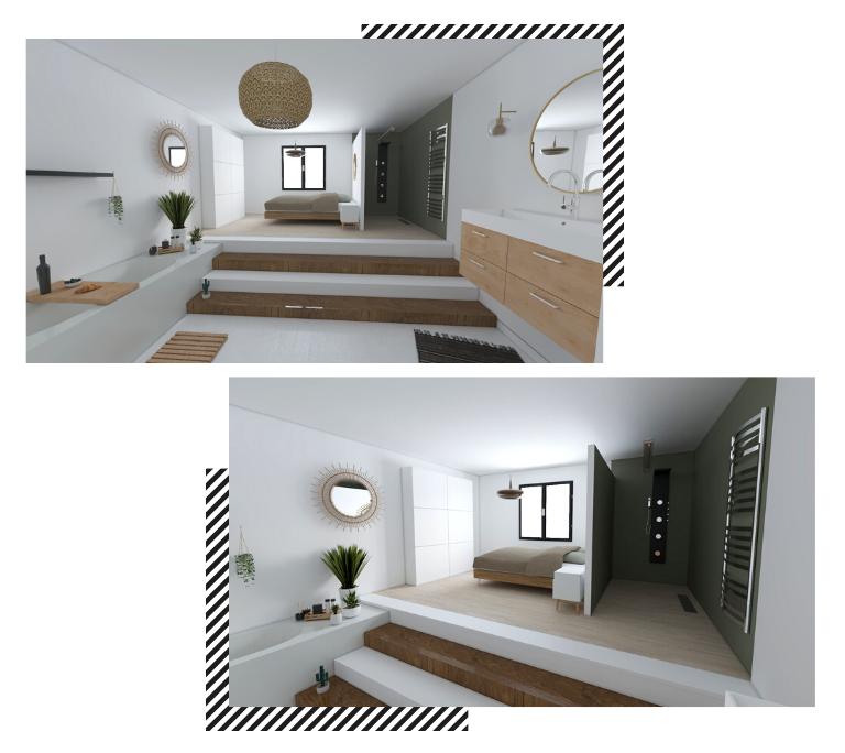 salle de bain desgin suite parentale moderne blanche et bois