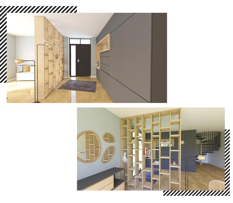 Entrée avec dressing design gris et bois et claustra
