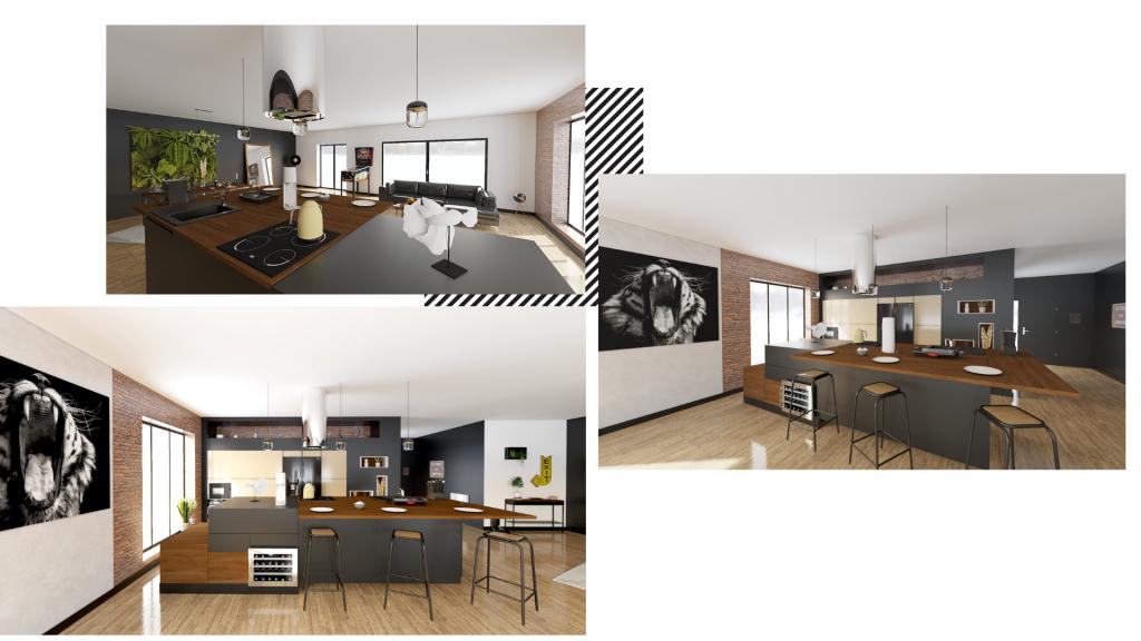 Une cuisine en I industrielle noire et bois