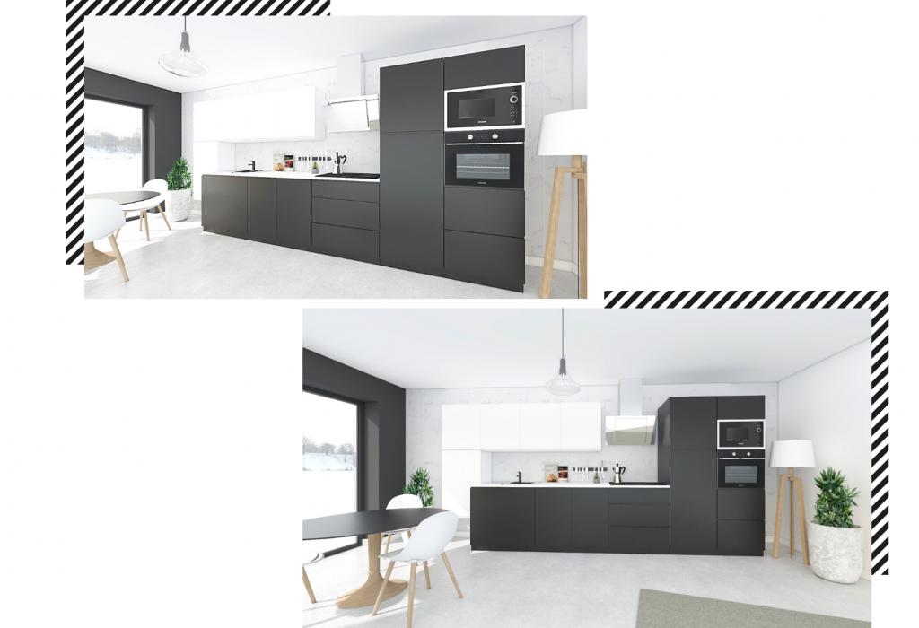 Une cuisine design blanche et noire en Iongueur