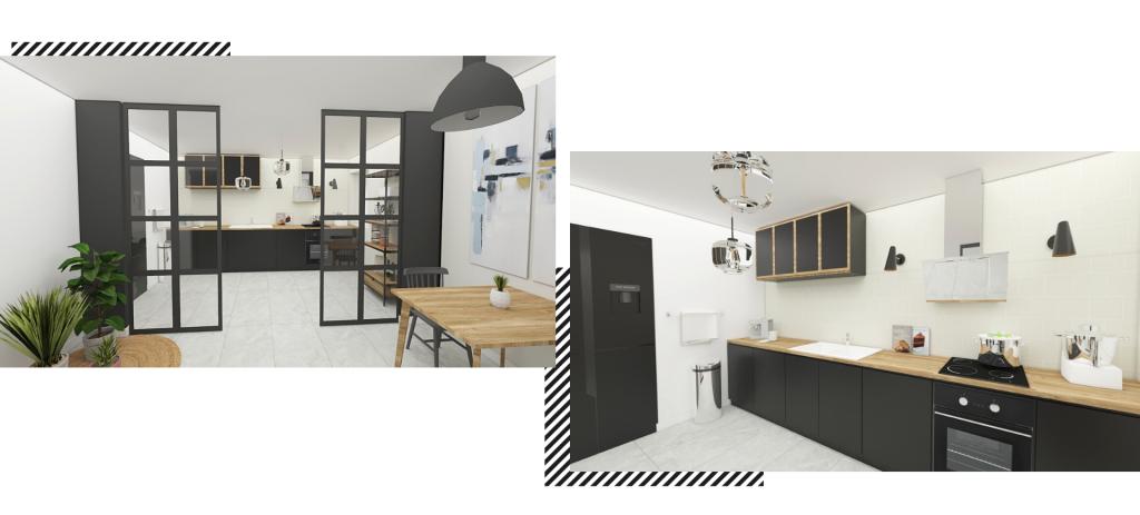 Une cuisine moderne semi-ouverte en I