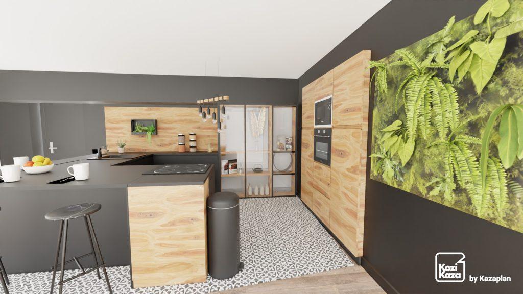 Une cuisine moderne noire et bois avec comptoir