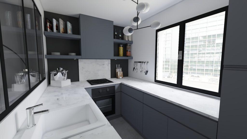 cuisine parallèle plan de travail en marbre blanc