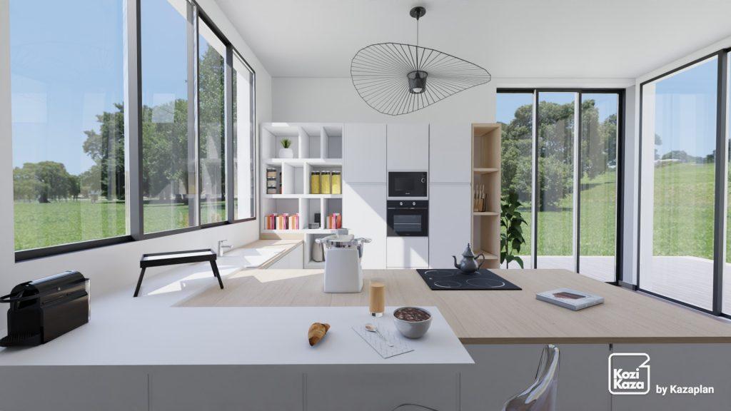 grande cuisine design blanche et bois en L