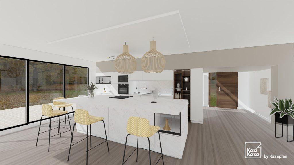 cuisine design total look blanc avec ilot central en marbre