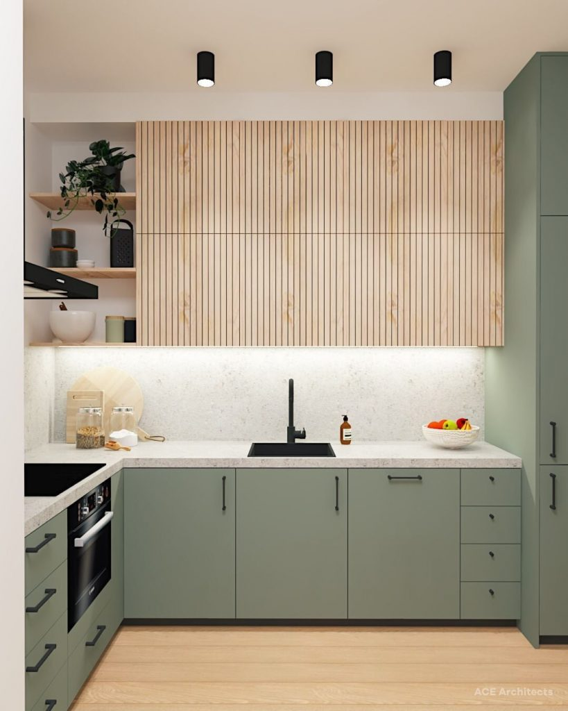 Des petites cuisines modernes aux teintes pastel