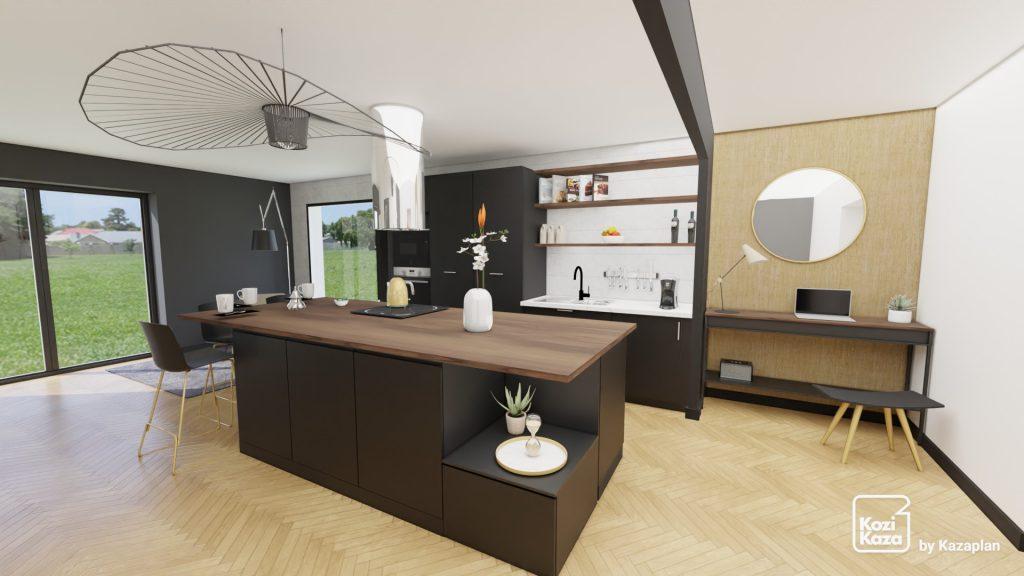 petite cuisine moderne noire et bois dans le séjour