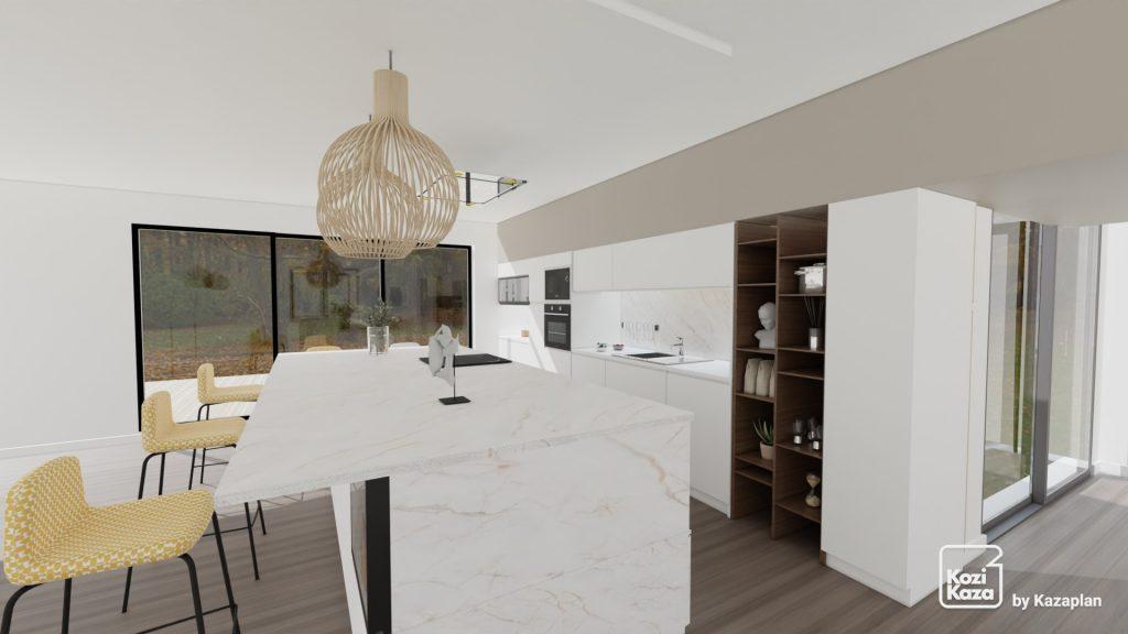 ilot central en marbre blanc et étagères en bois sur-mesures