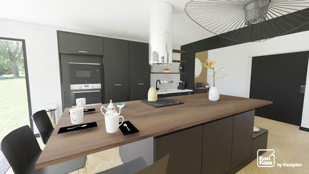 petite cuisine moderne noire et bois dans le séjour avec ilot central