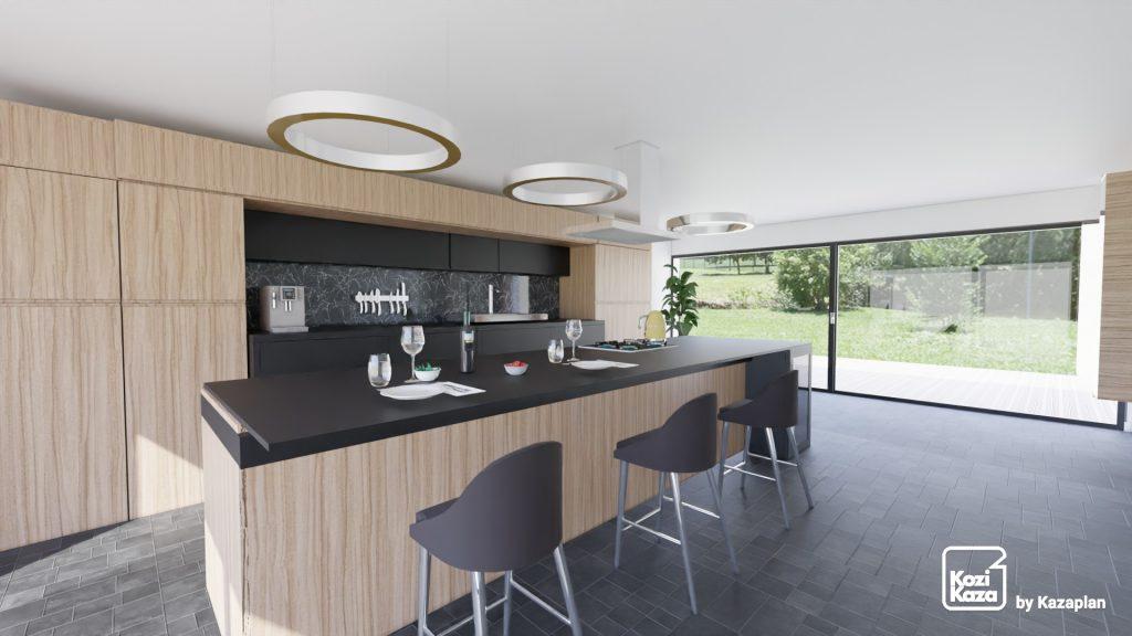 grande cuisine linéaire noire et bois avec ilot central xxl