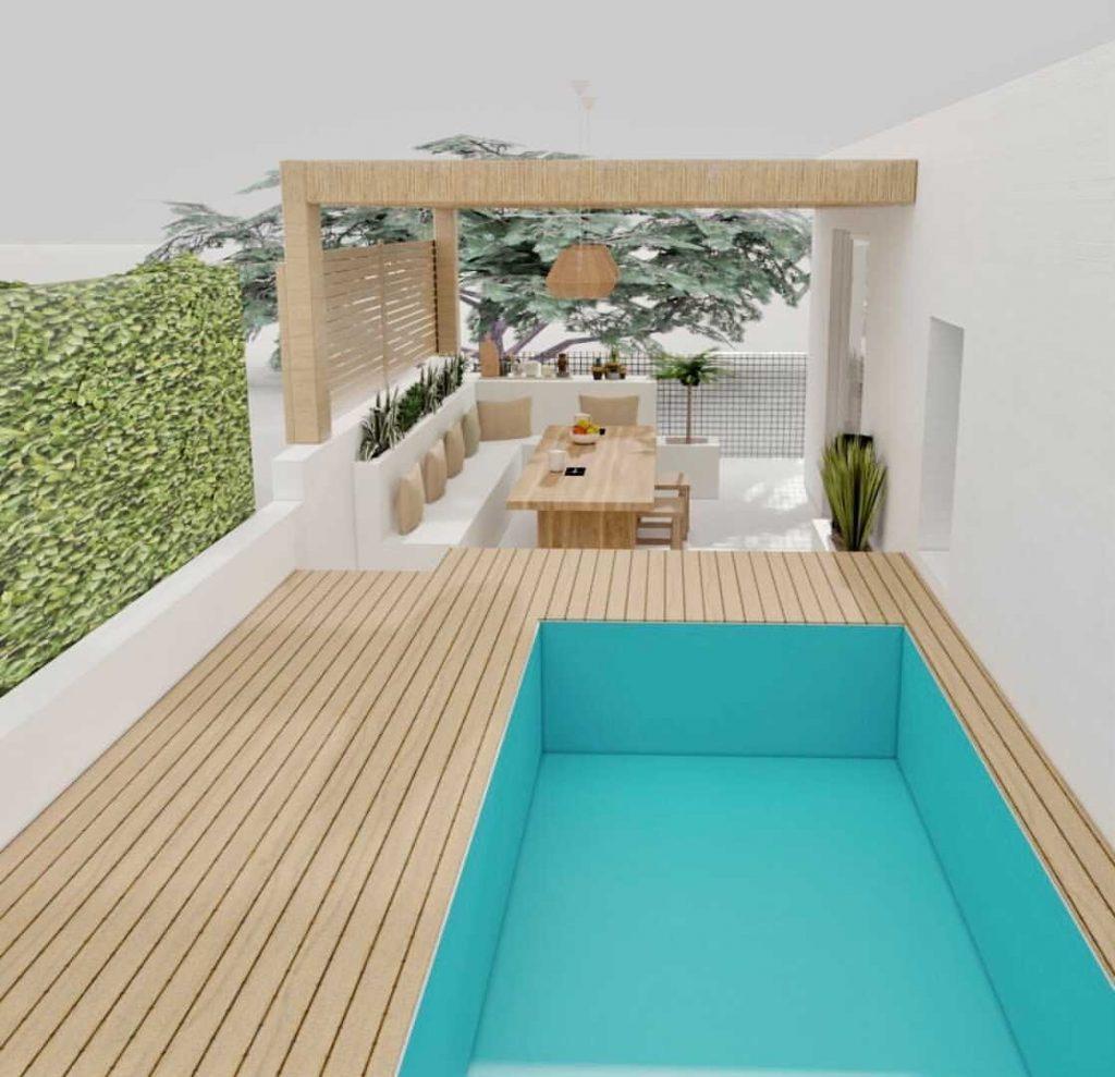 simulation 3D terrasse avec cuisine d'été