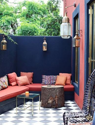 terrasse ambiance marocaine bleue